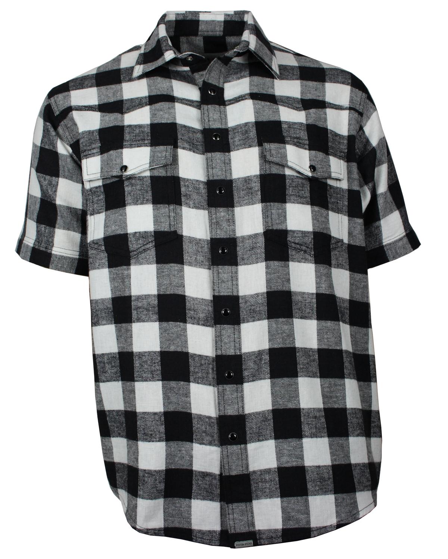 cheaper 4788e 59d2d Freizeithemd Herren Flanell Hemd Kurzarm Baumwolle schwarz/weiß Größe S bis  4XL